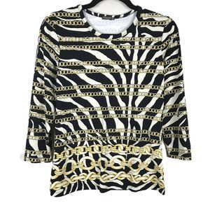 J McLaughlin Zebra Chain Print Catalina Cloth Top